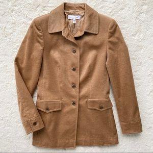 Escada brown corduroy cashmere silk coat jacket